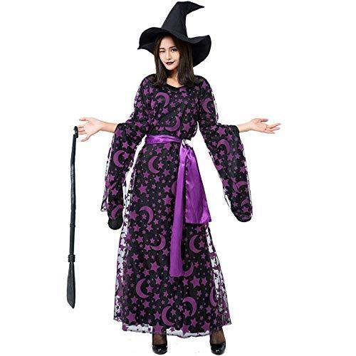 Fashion-Cos1 Lila Stern Mond Magie Hexe Kostüm für Frauen böse Hexe Cosplay Kleidung Halloween Kleid (Size : L)