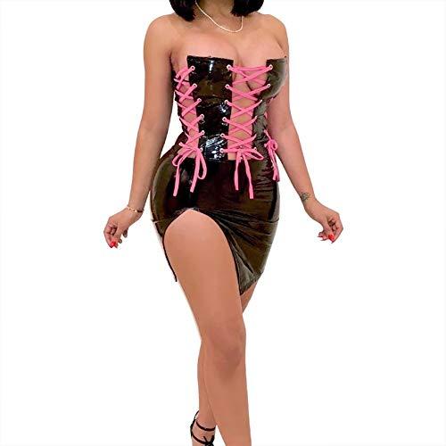 Kostüm Ärmellos Schnürung - GUANGHEYUAN-J Sexy Kostüme für Frauen Sexy Dress Frauen ärmellose schnürung vorne Verband Partei Bodycon Dress Arbeit Club Dress Flirt Kostüm (Color : Black, Size : L)