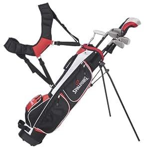 Spalding XS900 Demi-set de golf de débutant pour homme avec bois de parcours 5.7.9.sw, fibre de carbone, pour droitier Noir/rouge38cm