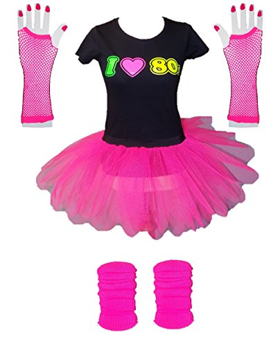 I Love 80s Ladies Fancy Dress Outfit - XS to 3XL