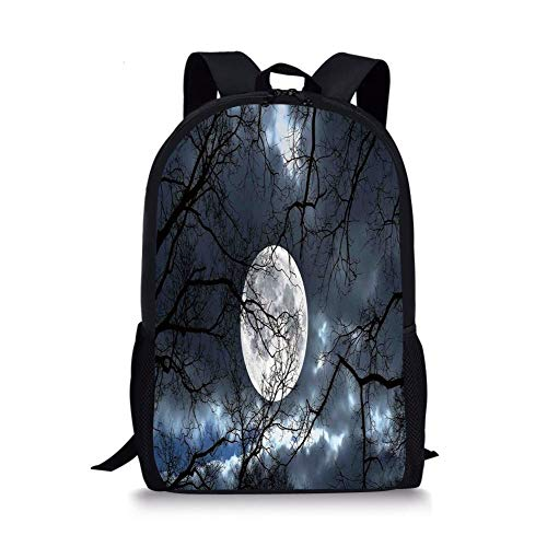 School Bags Farm House Decor,Full Moon at Night in The Forest Winter Time Mystical Dramatic Days Luna Photo,Blue Black Yellow for Boys&Girls Mens Sport Daypack Winter Full House