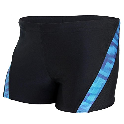 Aquarti Bañador de Niño con Rayas Contraste, Negro/Azul, 8-9 Años 134cm