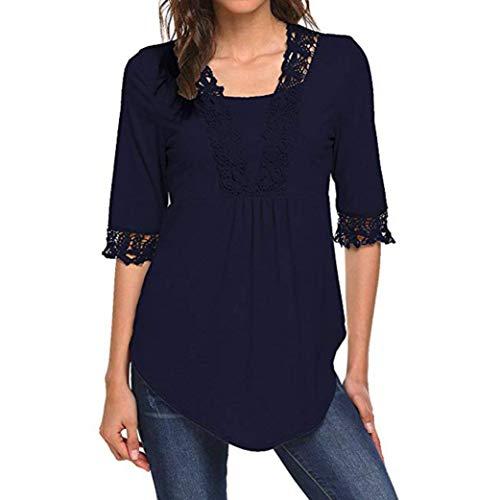 ESAILQ Frauen Lässige Halbe Ärmel Tops Tunika Bluse Shirts(XL,Marine) (Braut Sonnenbrille Bräutigam Und)