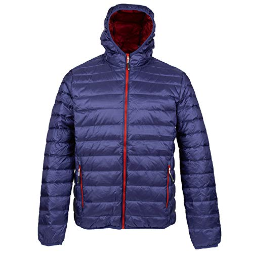 alvivo Daunenjacke Kapuze Herren Dublin Premium Winterjacke Outdoorjacke Wanderjacke Ultraleicht, warm & Winddicht (Navy, XXL)