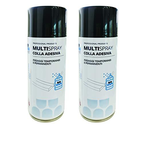 Multisint MultySpray - Nuova Colla Spray per Pannelli Fonoassorbenti 400 ml (Confezione 2 Bombolette) - Produzione 100% Italiana