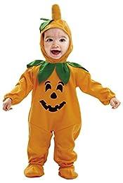 Disfraz Baby Calabaza para bebés. Se compone de mono, sombrero y patucos. Perfecto para Halloween.