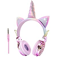 Bestmaple Unicorn Kids Headphones 3.5MM Audio Cable Cartoon Headband 85dB Volume Limited on Ear Headphones for Children, Adults,Teens,School,Christmas,Parties With Gfit Box (Rose Gold)