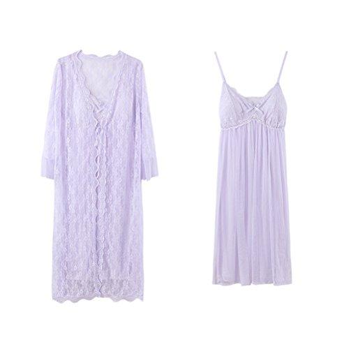 Zhhlaixing Womens Soft Princess Sleep skirt Pyjama Two pieces Breathable Nightwear Set Purple