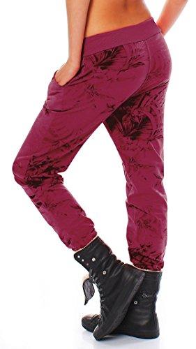 ZARMEXX Jogging Pantalone felpa di cotone Pantaloni sportivi da donna da jogging pantaloni tempo libero pantaloni Relax Fit Pant Jungle Stampa Bordeaux