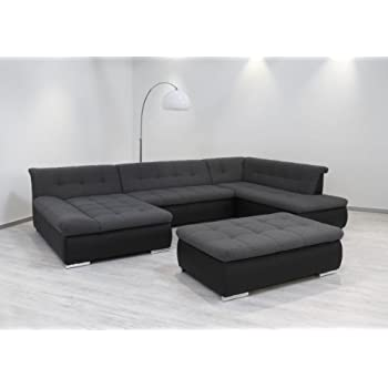 dreams4home polsterecke laguna sofa wohnlandschaft couch u form schlaffunktion grau strukturiert. Black Bedroom Furniture Sets. Home Design Ideas