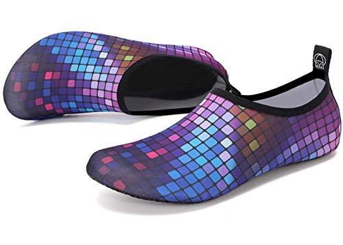 Deevike Aqua Socken Wasserschuhe Barfuß Yoga Socken Schnell Trocken Surfen Schwimmen Schuhe für Damen Herren Farbige Quadrate 40/41