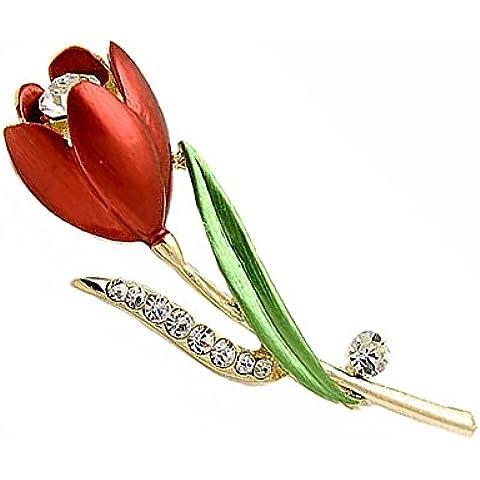 Regali Celebrity Jewellery austriaco di cristallo 18K Rosa ha placcato Spilla Rosa rossa di San Valentino