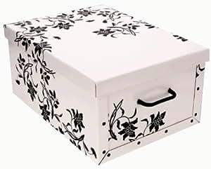 gro e aufbewahrungs box mit deckel in weiss mit blumen muster kiste karton schachtel pappe. Black Bedroom Furniture Sets. Home Design Ideas