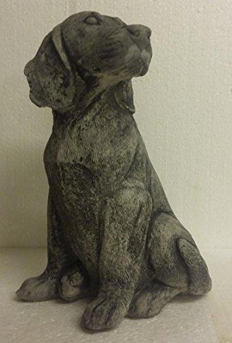 Hund Labrador 7,4 Kg Tim Welpe liegend Tierfigur Steinfigur Frostfrei Garten Dekomassiver Steinguss