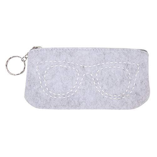 Duokon Brillenetuis Tragbare modische Filz Brillen Tasche Reißverschluss Sonnenbrille Tasche Make-up Beutel Aufbewahrungsbox Handtasche Tasche(Weiß)