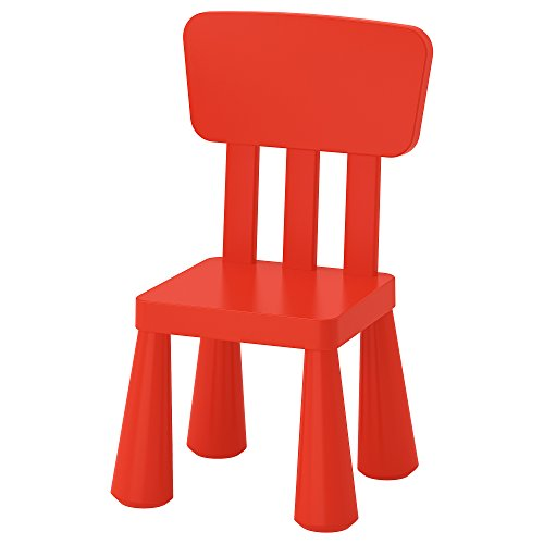 IKEA Mammut 403.653.66 Kinderstuhl aus Kunststoff mit hoher Rückenlehne, geeignet für den Innen- und Außenbereich Farbe Rot.