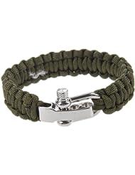 Cuerda del paracaidas - SODIAL(R)Ajustable Pulsera de sobrevivir para cuerda del paracaidas con cierre metalico de acero inoxidable (Verde oscuro)