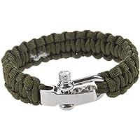 Cuerda del paracaidas - TOOGOO(R)Ajustable Pulsera de sobrevivir para cuerda del paracaidas con cierre metalico de acero inoxidable (Verde oscuro)