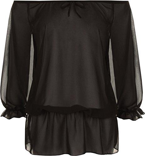 Fashion 4weniger Neue Damen Plus Größe 3/4Sleeve Chiffon Gypsy Boho Top. UK 14–28 Schwarz