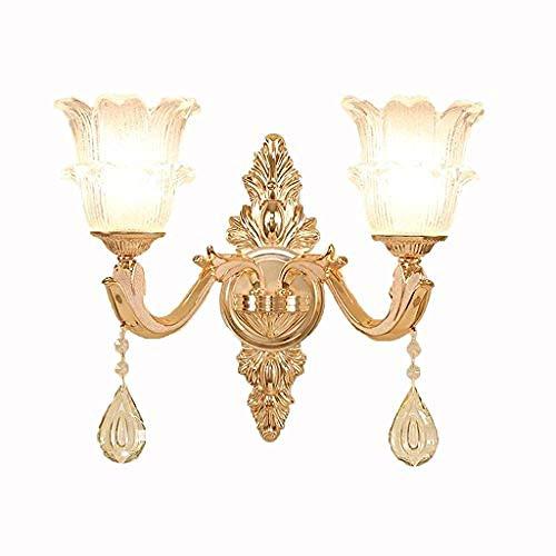 yuqin Garden Candles,European Crystal Zinc Alloy Jade Luxury Atmospheric Living Room Aisle Warm Bedside Lamp (Color : Single Head)@Double Head -