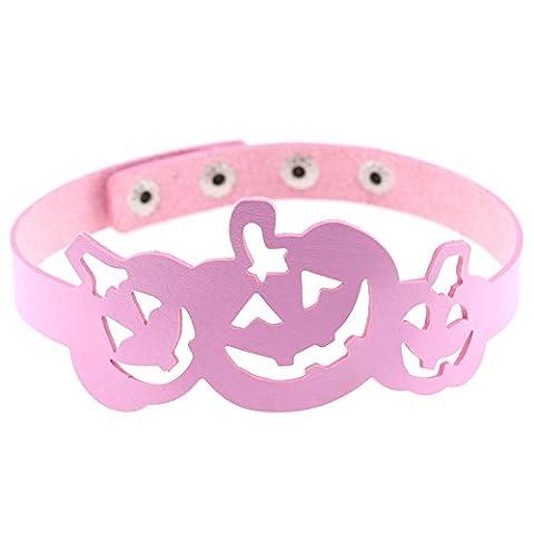 Adisaer Leder Choker Damen Hohl Kürbislaterne Kette Einstellbar Collier Rosa Halskette Für Frauen Halloween Geschenk Gtohic