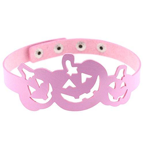 Daesar Halloween Schmuck Party Halskette Rosa Kürbis Halskette Leder Choker - Kürbisse Halloween-fünf Kleine