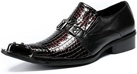 MSFS Zapatos de hombre piel genuina Negocio Mocasines Formal Puntera de metal Espectáculo Club nocturno Acento...