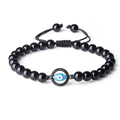 coai Geschenkideen Glücksarmband aus Obsidian mit Pavé Blaues Evil Eye Nazar Boncuk in Größe M für Damen und Herren
