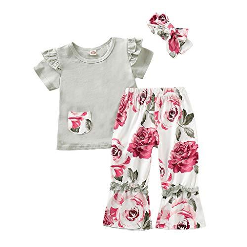 Prinzessin Kitty Kind Kostüm - LIGESAY Kleinkind Kinder Baby Mädchen Kleidung Set Tops T-Shirt + Blumen Flare Hosen Outfits Kleidung Set Pullover Plissee Baumwolle Sommer Prinzessin Kitty Gestrickte