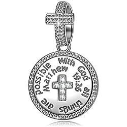 NINAQUEEN Grabado Mujer Día de la madre Charm Colgante Plata 925 Cruz Religiosa Compatible con Pulsera Pandora Joyas Regalo para Cumpleaños Aniversario día de San Valentín Día de la Madre Navidad