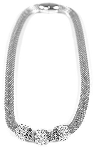 Trendit Halskette edles Collier Designer Ketten Damen Hals-Ketten mit Strass Beads Modell -betterOne- viele Modelle (3CLR-M)