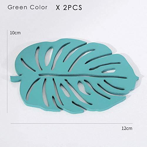 SAOJI 2 unids Creative Wood Coaster Placemats Forma de Hoja de Oro...
