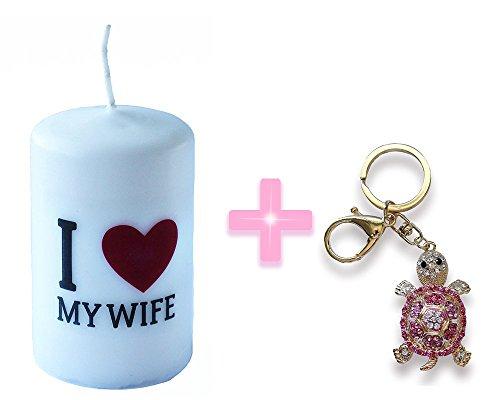 I Love My Wife-Dimensioni: 6 cm X 10 cm, colore: rosso con ciondolo a tartaruga, (Black Tortoise Charm)