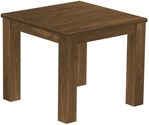 Esszimmer Nussbaum Bank (Brasilmöbel Esstisch Rio Classico 90x90 cm Nussbaum Holz Tisch Pinie Massivholz Esszimmertisch Küchentisch Echtholz Größe und Farbe wählbar ausziehbar vorgerichtet für Ansteckplatten)
