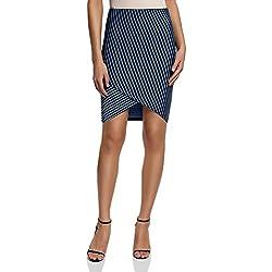 oodji Ultra Mujer Falda de Punto con Parte Inferior Asimétrica, Azul, ES 42 / L