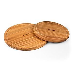Rustler Schneidebrett aus Akazienholz FSC 100% - 2er Set - 2x Holzbrett rund  Ø 30 cm und Ø 25 cm - Servierbrett Holz in braun
