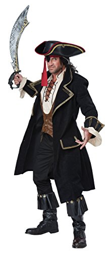 Kostüm Deluxe Piraten Kapitän - California Costumes Eleganter Piraten-Kapitän Deluxe Kostüm schwarz-Gold M (40/42)