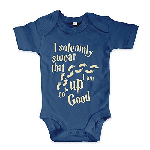 net-shirts Organic Baby Body mit Up to no Good Aufdruck Spruch lustig Strampler Babybekleidung aus Bio-Baumwolle mit Zertifikat Inspired by Harry Potter, Größe 0-3 Monate, Navy (Lustige Harry Potter Kostüm)