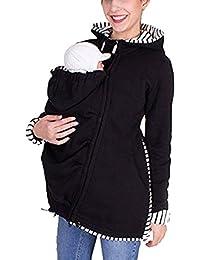 Sodhue Veste Porte-bébé 3 en 1 Porte-bébé à Capuche Veste Manteau de Poche Multifonction  Kangourou pour Femmes… e93a8b94c54
