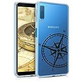 kwmobile Funda para Samsung Galaxy A7 (2018) - Carcasa de [TPU] para móvil y diseño de Aguja magnética en [Negro/Transparente]