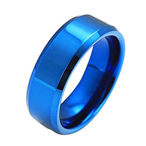 H2okp-009 Mode Einfache Unisex Liebhaber Ringe Edelstahl Poliert Abgeschrägte Grenzen Spiegel Fingerringe Schmuck Geschenke blau US 8