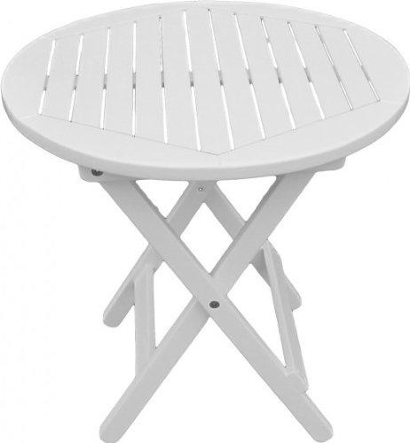 Gartentisch Beistelltisch rund weiß lackiert Eukalyptus FSC-Holz