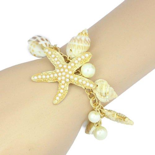 Atdoshop(TM) Ocean Sea Shell Starfish Faux Pearl Bracelets Bangles Pendant Jewelry