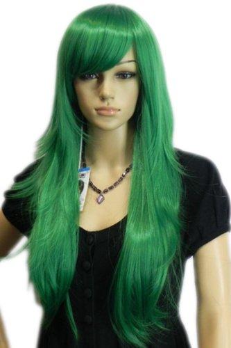 QIYUN.Z Haarteile Damen Perücken Lange Gerade Grün Geschichteten Volles Haar Cosplay Anime Kostüm Perücke