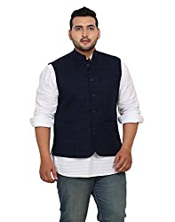 John Pride Men Blue Coloured Nehru Jacket (Sizes: 2XL- 5XL)