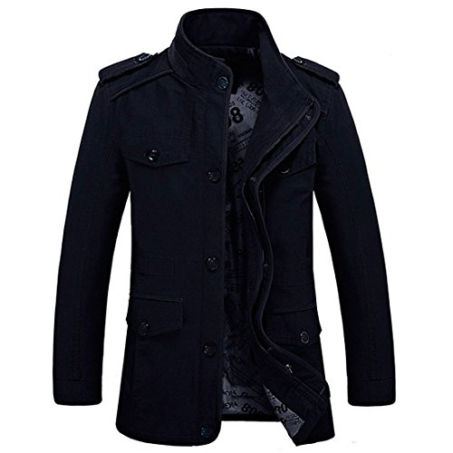Veste militaire HDH en coton pour homme, fermeture éclair, légère et ajustée, manches longues et poches multiples, saison printemps/automne - Noir - XX-Large