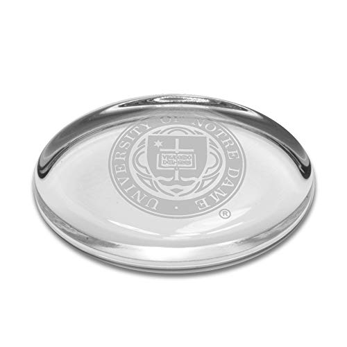 University Glass NCAA Notre Dame Fighting Irish Seal Logo Oval Paperweight, Clear, One Size