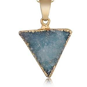 """Luxuon SchmuckDruzy Anhänger Halskette, Natur Dreieck Kristall Halskette Galvanisiertes Gold Edge Drusy Geode Charms Halsketten 24 """""""