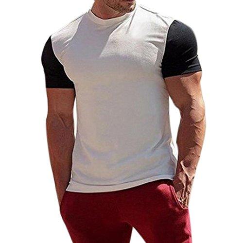 feixiang moda casuale t-shirt da uomo di giuntura maniche corta girocollo t shirt maglietta da uomo camicie e t-shirt sportive camicie da uomini tees manica corta tops polo (bianco, 2xl)