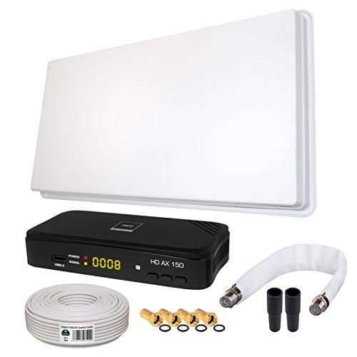 SAT KOMPLETT SET von HB-DIGITAL: Hochleistungs-Sat-Flachantenne ✨ H30D Single 1 Teilnehmer Direkt ➕ 1x Hochwertiger SAT-Recever ➕ Fensterhalterung ➕ 10m HQ-135 SAT-Kabel ➕ SAT Fensterdurchführung GOLD ➕ 4x F-Stecker vergoldet ➕ 2x Gummitüllen ➕ HDMI Kabel ■ FULL HD TV 3D 4K ■ (ALL-IN-ONE)
